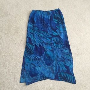 Blue Chico's tiered skirt with side slit